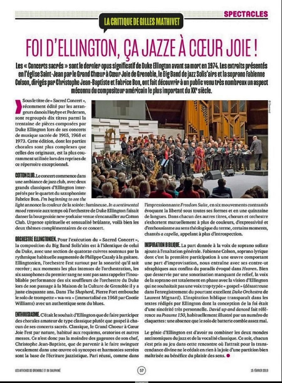 Article des Affiches de Dauphiné; 15 février 2019; Foi d'Ellington, ça Jazze A Coeur Joie